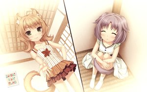 Rating: Safe Score: 29 Tags: 2girls animal_ears blonde_hair blush catgirl cinnamon_(sayori) green_eyes loli maple_(sayori) nekopara purple_hair sayori short_hair skirt socks tail watermark User: RyuZU