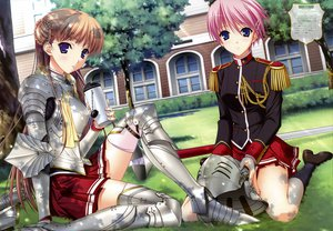 Rating: Safe Score: 95 Tags: armor blue_eyes blush brown_hair drink kisaki_mio kneehighs komori_kei noel_marres_ascot pink_hair school_uniform short_hair thighhighs walkure_romanze weapon User: opai