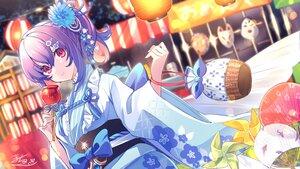 Rating: Safe Score: 37 Tags: apple bow candy close fan festival food fruit houchi_shoujo japanese_clothes macchoko mask pink_eyes ponytail purple_hair signed summer yukata User: BattlequeenYume