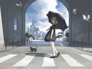 Rating: Safe Score: 81 Tags: animal bird building cat city clouds dress goth-loli headdress lolita_fashion nauimusuka original scenic sky socks umbrella User: RyuZU