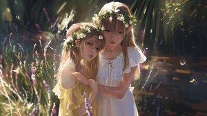 Rating: Safe Score: 233 Tags: 2girls blonde_hair blue_eyes butterfly dress flowers forest g-tz headdress hug loli long_hair original realistic summer_dress tree User: BattlequeenYume