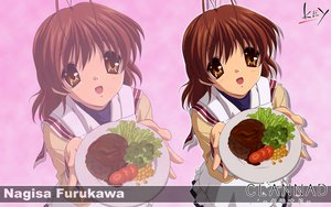 Rating: Safe Score: 8 Tags: brown_eyes brown_hair clannad food furukawa_nagisa key logo seifuku short_hair zoom_layer User: 秀悟