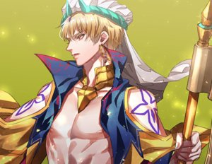 Rating: Safe Score: 25 Tags: all_male blonde_hair fate/grand_order fate_(series) gilgamesh gradient green headdress male nipples red_eyes short_hair staff tattoo tenobe User: otaku_emmy
