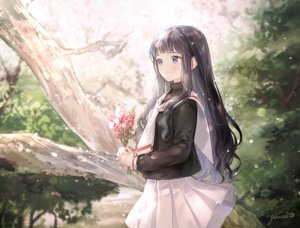 Rating: Safe Score: 63 Tags: black_hair blush card_captor_sakura daidouji_tomoyo flowers gomzi long_hair purple_eyes school_uniform signed skirt User: RyuZU