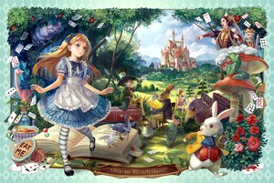 Rating: Safe Score: 124 Tags: alice_(wonderland) alice_in_wonderland animal bird book cheshire_cat dress flowers food hat queen_of_hearts rabbit rose siro User: FormX