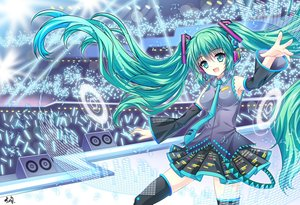 Rating: Safe Score: 45 Tags: breasts green_eyes green_hair halodark hatsune_miku long_hair signed skirt thighhighs tie twintails vocaloid User: FormX