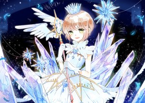 Rating: Safe Score: 12 Tags: brown_hair card_captor_sakura crown dress gloves green_eyes kinomoto_sakura petals short_hair signed tagme_(artist) wand wings User: RyuZU
