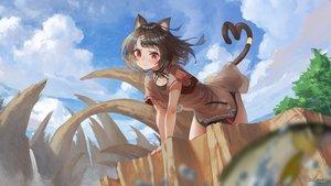Rating: Safe Score: 56 Tags: animal_ears bell brown_hair catgirl cat_smile clouds collar dress original red_eyes saraki short_hair sky tail tattoo tree User: BattlequeenYume