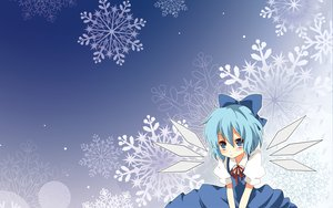 Rating: Safe Score: 50 Tags: blue blue_hair blush bow cirno dress fairy photoshop snow touhou winter User: xdemonessx