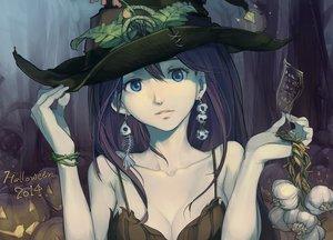 Rating: Safe Score: 161 Tags: blue_eyes bones breasts brown_hair cleavage food halloween hat long_hair ofuda original pumpkin sketch skull tennohi wristwear User: minabiStrikesAgain