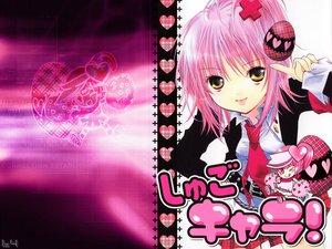 Rating: Safe Score: 59 Tags: hinamori_amu jpeg_artifacts peach-pit pink pink_hair ran_(shugo_chara) school_uniform short_hair shugo_chara tie yellow_eyes User: Oyashiro-sama