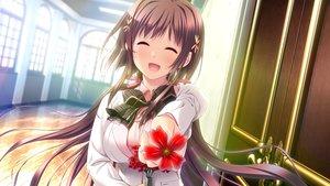 Rating: Safe Score: 89 Tags: blush bow breast_hold brown_hair flowers game_cg long_hair ryuudouji_shimon_no_inbou school_uniform sumitani_akane teeta_j User: RyuZU