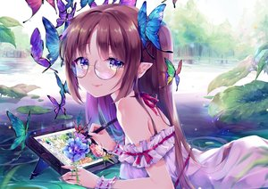 Rating: Safe Score: 83 Tags: blush brown_hair butterfly computer daefny dress glasses leaves long_hair original pointed_ears purple_eyes ribbons summer_dress tree water wristwear User: BattlequeenYume