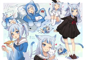 Rating: Safe Score: 46 Tags: animal animal_ears blue_eyes cat catgirl chibi food gawr_gura gray_hair hololive pizza ponytail sleeping tail ten-chan_(eternal_s) watermark wink User: BattlequeenYume