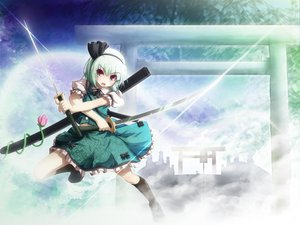 Rating: Safe Score: 30 Tags: akashio_(loli_ace) katana konpaku_youmu myon sword touhou weapon User: Xtea