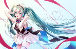 Rating: Safe Score: 45 Tags: aqua_eyes blush elbow_gloves gloves green_hair hatsune_miku headphones long_hair microphone miku_symphony_(vocaloid) naru_0 signed skirt twintails vocaloid zettai_ryouiki User: BattlequeenYume