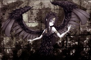 Rating: Safe Score: 155 Tags: black_hair dress fabled_grimro feathers necklace shintani_tsushiya wings yu-gi-oh User: opai