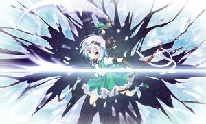 Rating: Safe Score: 11 Tags: blue_eyes elbow_gloves gloves gray_hair headband jpeg_artifacts katana kneehighs konpaku_youmu short_hair skirt sword touhou weapon z.o.b User: RyuZU