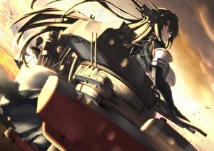 Rating: Safe Score: 35 Tags: animal anthropomorphism bird black_hair breasts clouds elbow_gloves gloves kantai_collection nagato_(kancolle) red_eyes sky sunset torn_clothes tsuuhan User: RyuZU