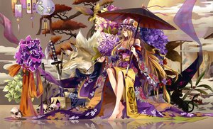 Rating: Safe Score: 290 Tags: animal cat chen cleavage flowers fox hat japanese_clothes katana long_hair neko_(yanshoujie) skull sword touhou tree umbrella weapon yakumo_ran yakumo_yukari User: opai