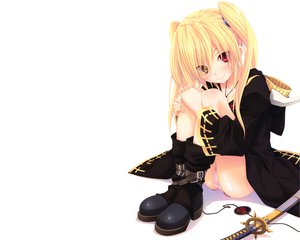 Rating: Questionable Score: 219 Tags: bicolored_eyes blonde_hair blush boots cameltoe miyama-zero oda_nobuna_no_yabou panties sword twintails underwear weapon white User: Wiresetc