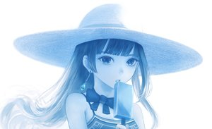 Rating: Safe Score: 60 Tags: blue bou_nin bow close hat long_hair monochrome original popsicle white User: RyuZU