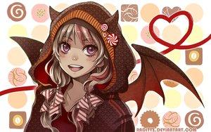 Rating: Safe Score: 40 Tags: blonde_hair bow hoodie horns original purple_eyes tagme_(artist) twintails watermark wings User: BattlequeenYume