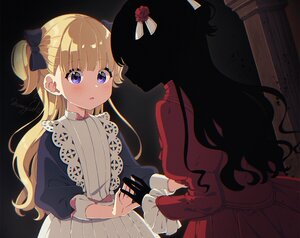 Rating: Safe Score: 45 Tags: 2girls blonde_hair blue_eyes blush bow cropped dress emilyko kate_(shadows_house) long_hair mamyouda shadows_house signed silhouette twintails User: otaku_emmy