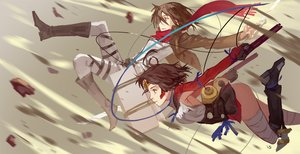 Rating: Questionable Score: 34 Tags: 2girls bandage brown_eyes brown_hair crossover gloves gun koutetsujou_no_kabaneri mikasa_ackerman mumei_(kabaneri) nanaya_(daaijianglin) red_eyes ribbons scarf shingeki_no_kyojin short_hair thighhighs weapon User: otaku_emmy