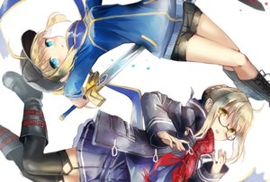 Rating: Safe Score: 62 Tags: aqua_eyes artoria_pendragon_(all) blonde_hair boots fate/grand_order fate_(series) garter_belt glasses hat mysterious_heroine_x mysterious_heroine_x_alter scarf school_uniform shorts stockings sword thighhighs weapon yellow_eyes yumeichigo_alice User: otaku_emmy