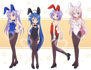 Rating: Safe Score: 158 Tags: animal_ears blue_hair bunny_ears bunnygirl glasses green_eyes group hiiragi_kagami hiiragi_tsukasa izumi_konata long_hair lucky_star mel_(artist) pantyhose pink_hair purple_eyes purple_hair short_hair tail takara_miyuki twintails User: SciFi