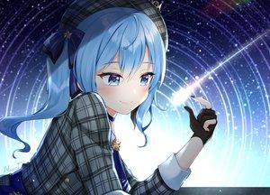 Rating: Safe Score: 78 Tags: blue_eyes blue_hair bow choker dress gloves hat hololive hoshimachi_suisei long_hair naomi_(fantasia) ponytail signed stars User: otaku_emmy