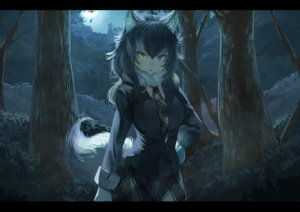 Rating: Safe Score: 89 Tags: animal_ears anthropomorphism bicolored_eyes black_hair breasts forest gray_wolf_(kemono_friends) kemono_friends koruse long_hair moon night skirt sky tail tie tree wolfgirl User: RyuZU