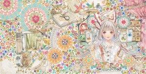 Rating: Safe Score: 56 Tags: animal apple bird book bow doll flowers food fruit fujiwara_no_mokou instrument long_hair mouse owl purple_eyes touhou white_hair yogisya User: FormX