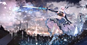 Rating: Safe Score: 47 Tags: aliasing animal armor boots building butterfly clouds dress elbow_gloves gloves green_eyes long_hair magic original signed sky sword tagme_(artist) tree weapon white_hair User: BattlequeenYume