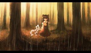Rating: Safe Score: 43 Tags: bow forest hakurei_reimu lanreta rain red_eyes touhou tree water User: ripah