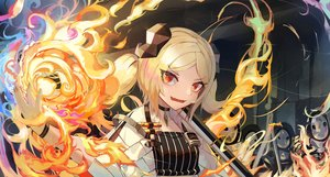 Rating: Safe Score: 33 Tags: arknights blonde_hair close fang fire horns ifrit_(arknights) magic natori_youkai orange_eyes short_hair twintails User: Fepple