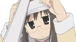 Rating: Safe Score: 30 Tags: book glasses minakami_mai nichijou school_uniform vector white User: opai