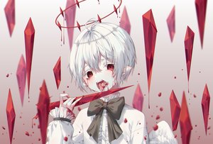 Rating: Safe Score: 52 Tags: albinoraccoon all_male blood male original pointed_ears red_eyes short_hair vampire white_hair wings User: sadodere-chan