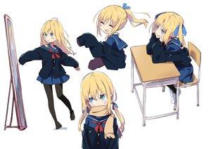 Rating: Safe Score: 40 Tags: amaryllis_class aqua_eyes blonde_hair fang kotohara_hinari loli long_hair mirror pantyhose ponytail scarf seifuku skirt tama_(tama-s) twintails white User: otaku_emmy