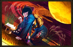 Rating: Safe Score: 21 Tags: black_hair food japanese_clothes kimono moon original short_hair yellow_eyes User: Tensa