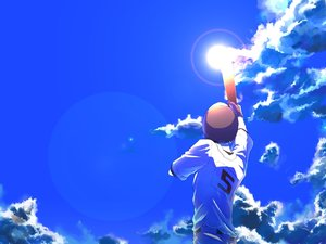 Rating: Safe Score: 41 Tags: all_male baseball baseball_bat clouds gym_uniform hat male ookiku_furikabutte sky sport tajima_yuuichirou tawashi_tobitamaru User: FormX