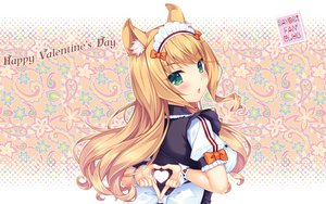 Rating: Safe Score: 82 Tags: animal_ears blush bow breasts catgirl green_eyes headdress heart maid maple_(sayori) nekopara orange_hair sayori uniform valentine waitress wristwear User: RyuZU