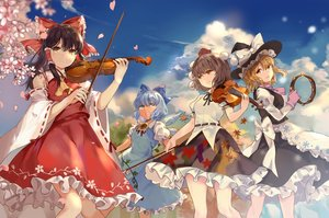 Rating: Safe Score: 53 Tags: apron blonde_hair blue_eyes blue_hair bow brown_hair cherry_blossoms cirno dress elise_(piclic) fairy flowers gloves group hakurei_reimu hat instrument japanese_clothes kirisame_marisa long_hair mage miko orange_eyes petals shameimaru_aya short_hair skirt touhou violin wings witch_hat yellow_eyes User: RyuZU