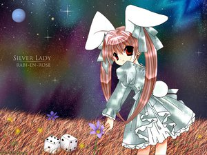 Rating: Safe Score: 22 Tags: animal_ears bow bunny_ears bunnygirl di_gi_charat dress flowers grass koge_donbo night pink_hair planet rabi_en_rose red_eyes sky space stars twintails usada_hikaru User: Oyashiro-sama
