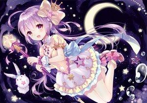 Rating: Safe Score: 143 Tags: bow crown dress long_hair moon original pink_eyes purple_hair scan staff stars wasabi_(sekai) wristwear User: Flandre93