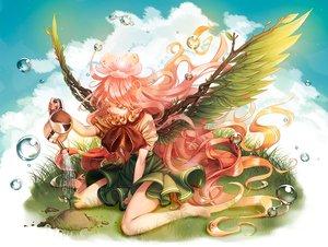 Rating: Safe Score: 25 Tags: barefoot clouds grass lantam long_hair original pink_eyes pink_hair skirt sky water wings User: RyuZU