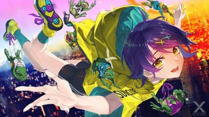 Rating: Safe Score: 38 Tags: akanagi_youto animal building city fire frog hoodie original purple_hair short_hair shorts yellow_eyes User: RyuZU
