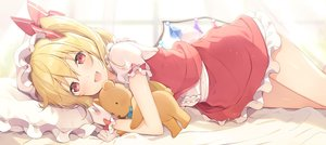 Rating: Safe Score: 112 Tags: 6u_(eternal_land) bed blonde_hair blush bow dress fang flandre_scarlet gloves hat red_eyes short_hair teddy_bear touhou vampire waifu2x wings User: RyuZU