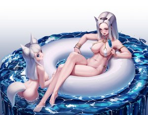 Rating: Questionable Score: 92 Tags: 2girls animal_ears ass barefoot bikini blade_&_soul blue_eyes blush breast_hold breasts drink gradient letdie1414 long_hair navel pink_eyes short_hair signed swimsuit tagme_(character) tail water wet white white_hair User: BattlequeenYume